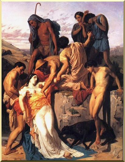 William Adolphe Bouguereau >> Zenobia Found by Shepherds on the Banks of the Araxes  |  (Oil, artwork, reproduction, copy, painting).