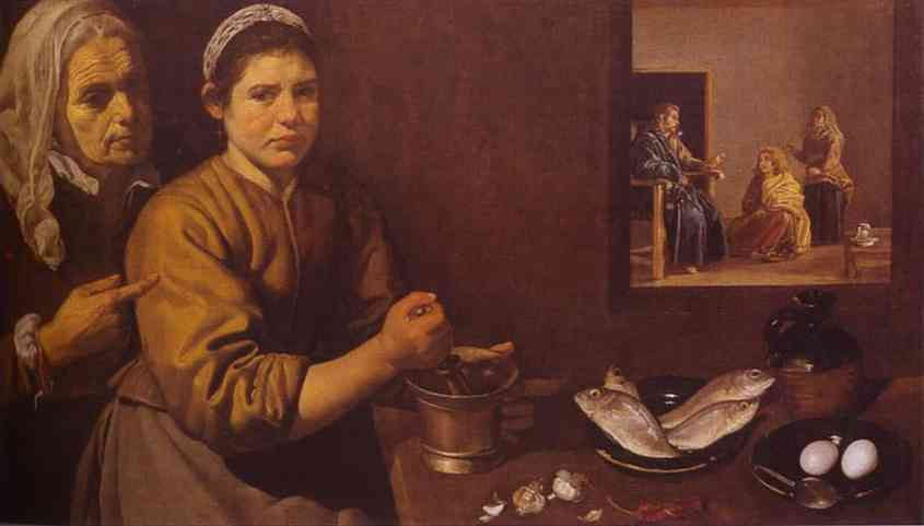 Diego Velazquez >> Christ in the House of Martha and Mary  |  (Oil, artwork, reproduction, copy, painting).