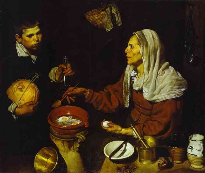 Diego Velazquez >> Old Woman Frying Eggs  |  (Oil, artwork, reproduction, copy, painting).