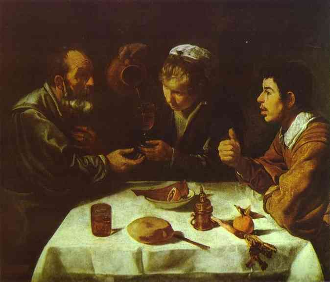 Diego Velazquez >> The Farmers' Lunch  |  (Oil, artwork, reproduction, copy, painting).