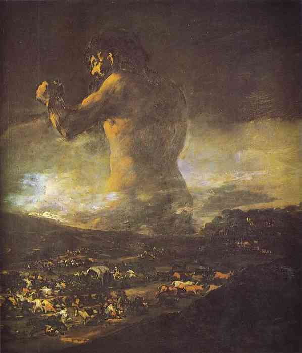 Francisco de Goya >> The Colossus  |  (Oil, artwork, reproduction, copy, painting).