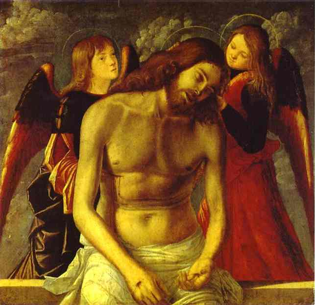 Vittore Carpaccio >> The Dead Christ Supported by Angels  |  (Oil, artwork, reproduction, copy, painting).