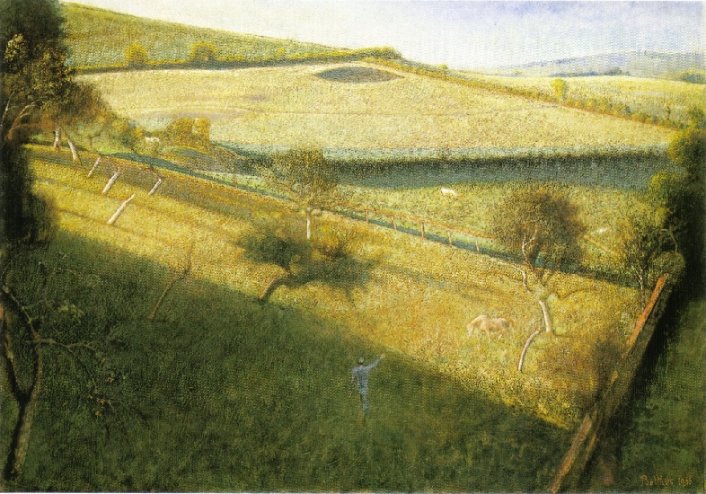 Balthus >> Large landscape trees (the triangular field) (1955)  |  (, artwork, reproduction, copy, painting).