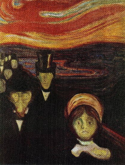 Anxiety (1894) by Edvard Munch (1863-1944, Norway) | Reproductions Edvard Munch | WahooArt.com