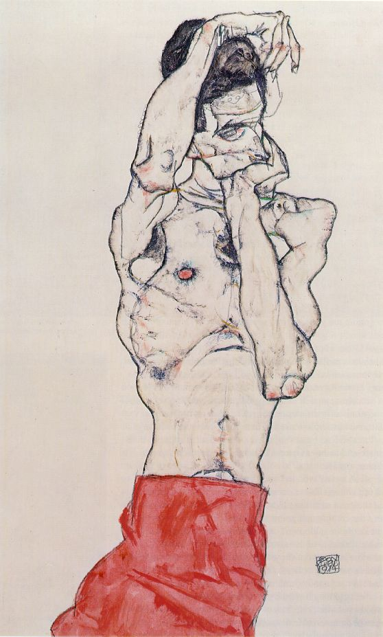 Egon Schiele >> standing male nude with red loincloth 1914  |  (Oil, artwork, reproduction, copy, painting).