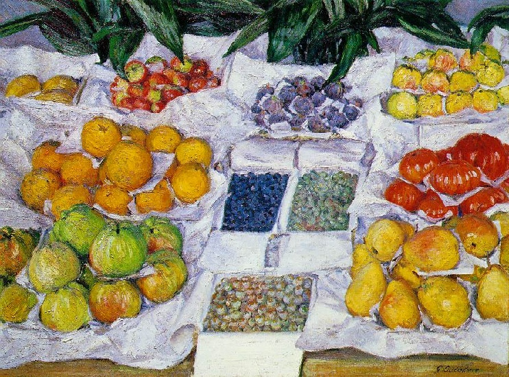 Gustave Caillebotte >> Fruit Displayed on a Stand (1)  |  (Oil, artwork, reproduction, copy, painting).
