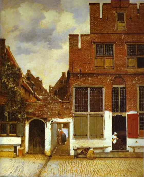 Jan Vermeer >> Street in Delfi  |  (Oil, artwork, reproduction, copy, painting).