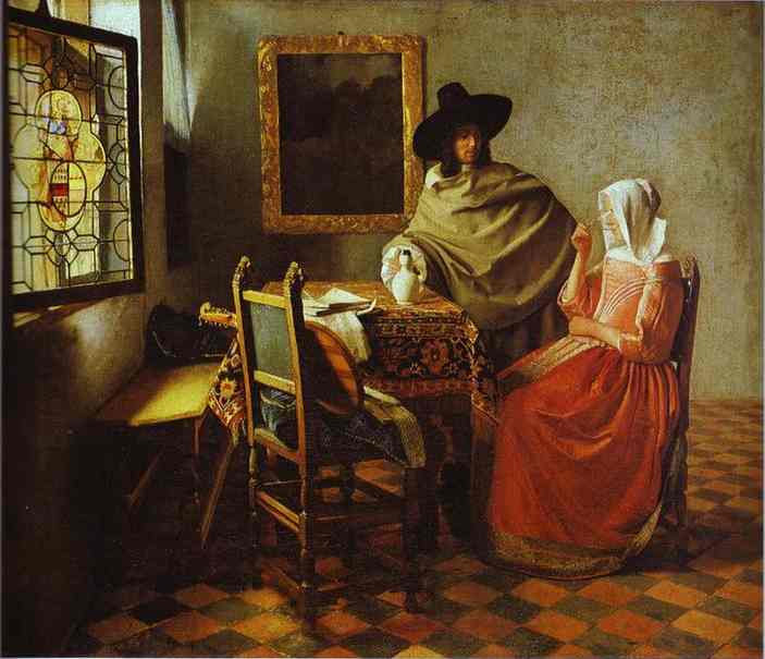 Jan Vermeer >> The Glass of Wine  |  (Oil, artwork, reproduction, copy, painting).