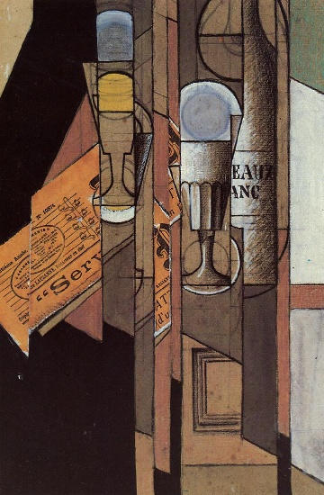 Juan Gris - Glasses, Newspaper and Bottle of Wine (1913)
