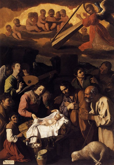 Francisco Zurbaran >> The Adoration of the Shepherds  |  (Oil, artwork, reproduction, copy, painting).