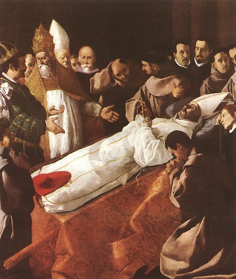 Francisco Zurbaran >> The Death of St. Bonaventura  |  (Oil, artwork, reproduction, copy, painting).