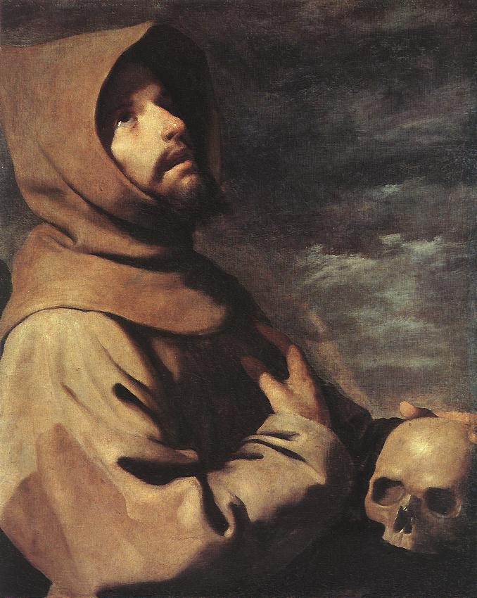 Francisco Zurbaran >> The Ecstasy of St. Francis  |  (Oil, artwork, reproduction, copy, painting).