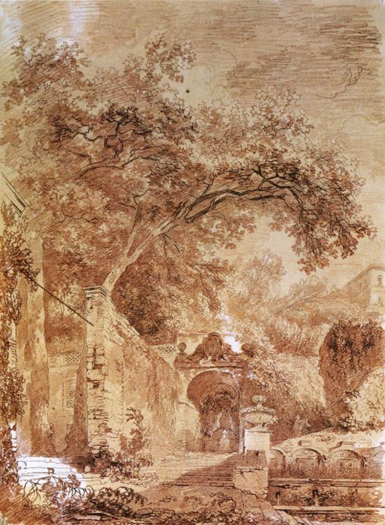 Jean-Honoré Fragonard - Fontanone, at the Villa d'Este in Tivoli