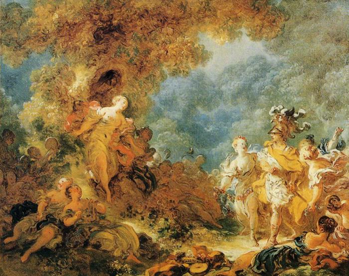Jean-Honoré Fragonard >> Rinaldo in the Gardens of Armida  |  (Oil, artwork, reproduction, copy, painting).