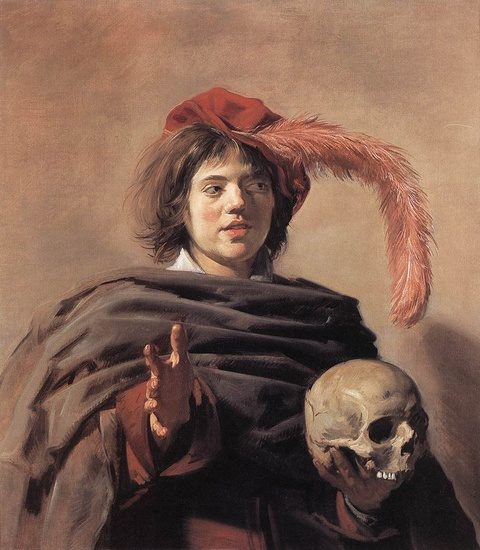 Frans Hals >> Young Man with a Skull (Vanitas)  |  (Oil, artwork, reproduction, copy, painting).