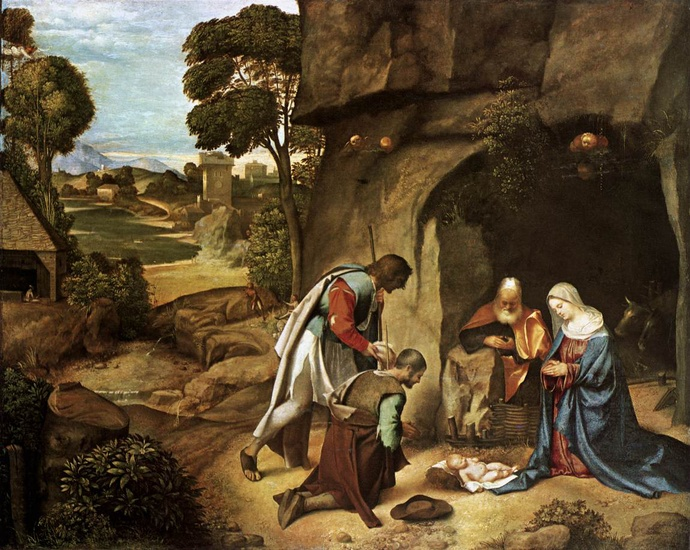 Giorgione - Giorgio Barbarelli >> Adoration of the Shepherds  |  (Oil, artwork, reproduction, copy, painting).
