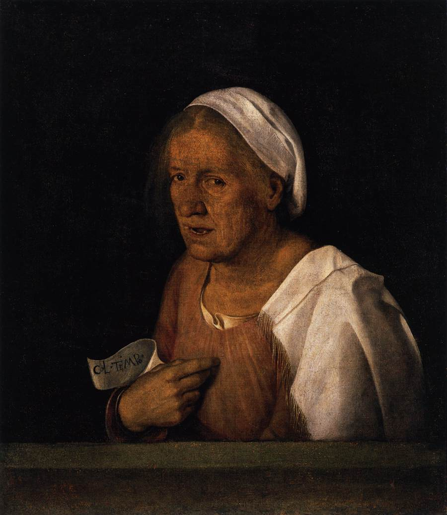Giorgione - Giorgio Barbarelli >> La Vecchia  |  (Oil, artwork, reproduction, copy, painting).