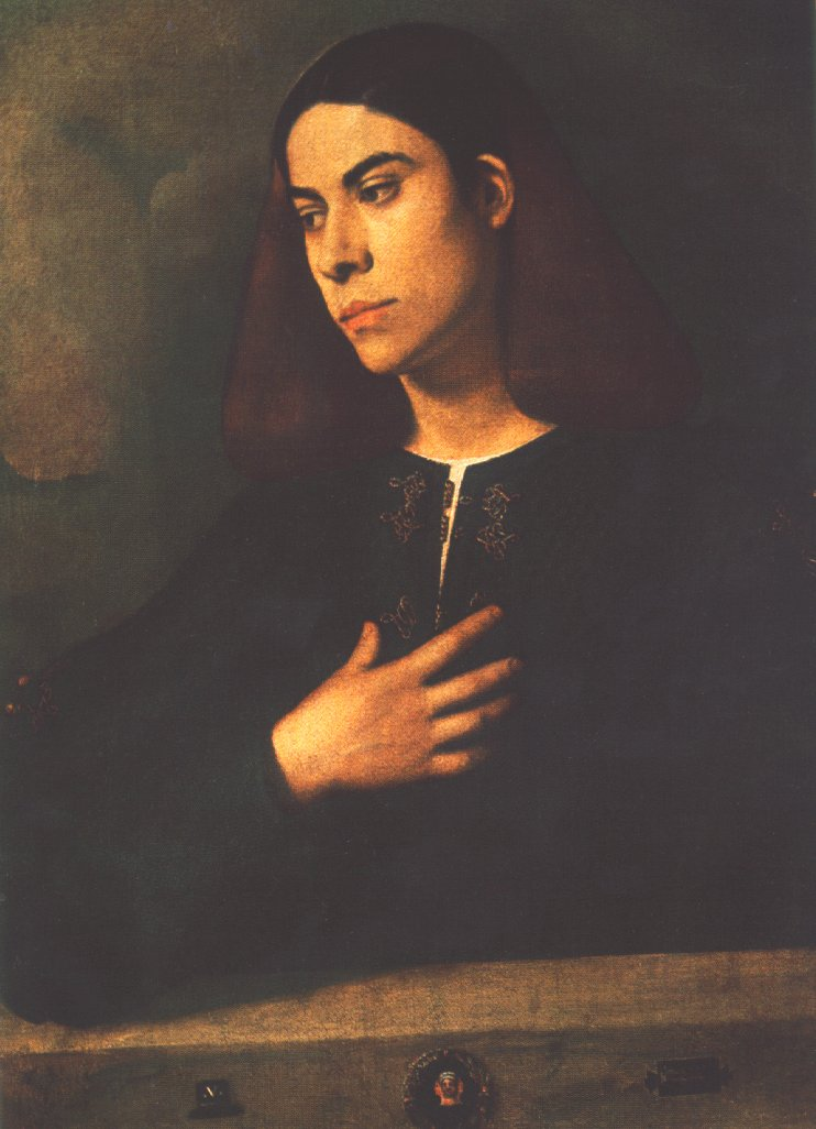 Giorgione - Giorgio Barbarelli >> Portrait of a Young Man  |  (Oil, artwork, reproduction, copy, painting).