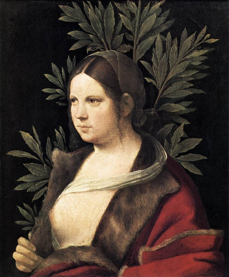 Giorgione - Giorgio Barbarelli >> Portrait of a Young Woman (Laura)  |  (Oil, artwork, reproduction, copy, painting).