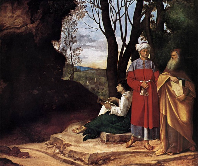 Giorgione - Giorgio Barbarelli >> The Three Philosophers  |  (Oil, artwork, reproduction, copy, painting).