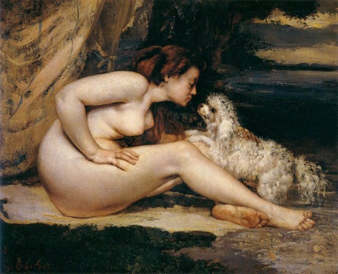 Gustave Courbet >> Nude Woman with Dog  |  (Oil, artwork, reproduction, copy, painting).