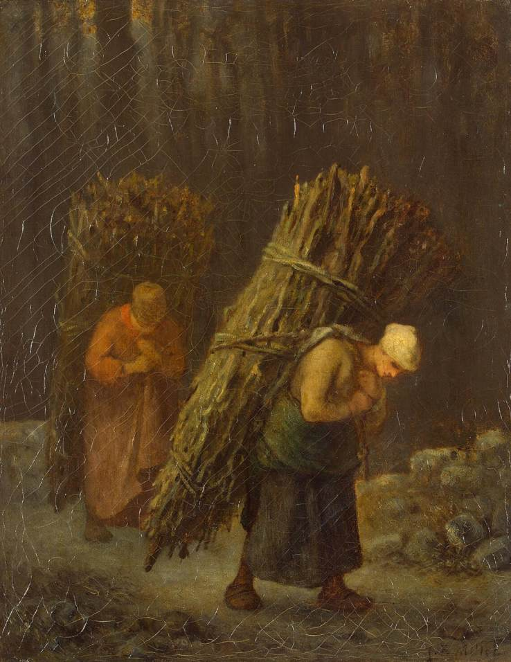 Jean-François Millet >> Peasant-Girls with Brushwood  |  (Oil, artwork, reproduction, copy, painting).