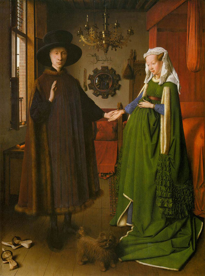 Jan van Eyck >> Portrait of Giovanni Arnolfini and his Wife  |  (Oil, artwork, reproduction, copy, painting).