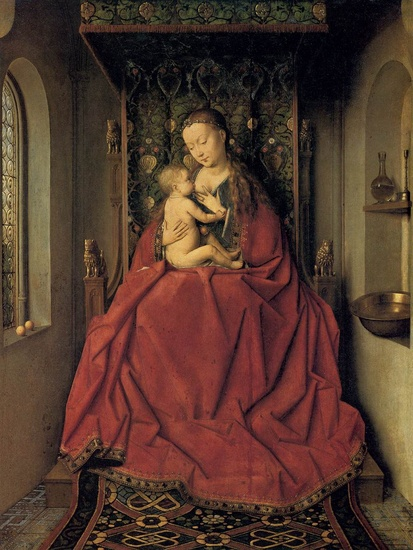 Jan van Eyck >> Suckling Madonna Enthroned  |  (Oil, artwork, reproduction, copy, painting).