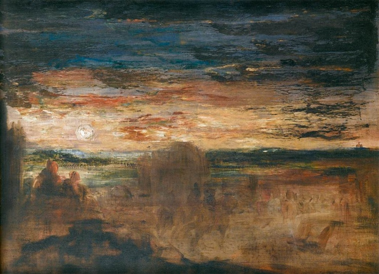 Gustave Moreau >> Shepherds Viewing Passing Soldiers  |  (Oil, artwork, reproduction, copy, painting).