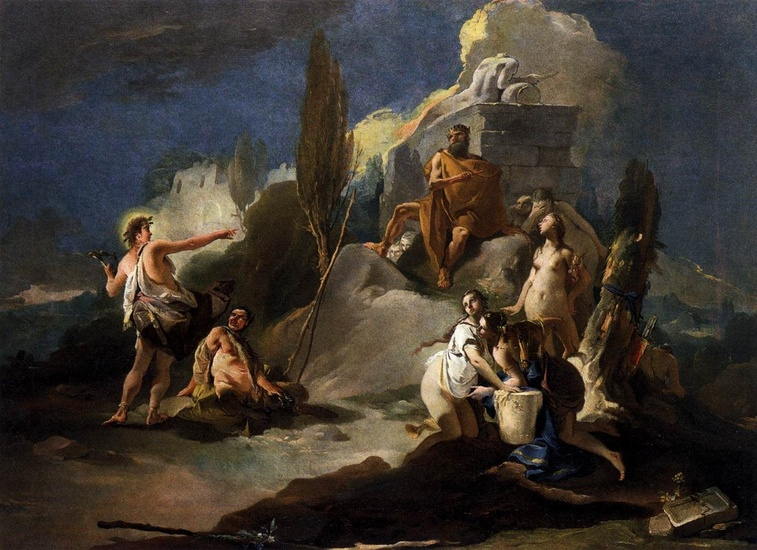 Giovanni Battista Tiepolo >> Apollo and Marsyas  |  (Oil, artwork, reproduction, copy, painting).