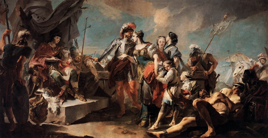 Giovanni Battista Tiepolo >> Queen Zenobia before Emperor Aurelianus  |  (Oil, artwork, reproduction, copy, painting).