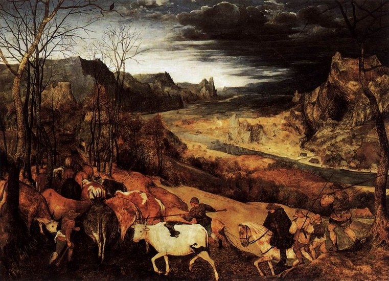 Pieter Bruegel the Elder >> The Return of the Herd (November)  |  (Oil, artwork, reproduction, copy, painting).