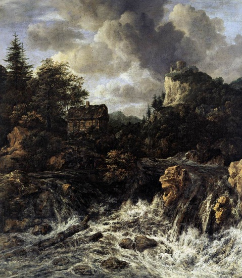 Jacob Isaakszoon van Ruisdael >> The Waterfall  |  (Oil, artwork, reproduction, copy, painting).