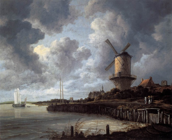 Jacob Isaakszoon van Ruisdael >> The Windmill at Wijk bij Duurstede  |  (Oil, artwork, reproduction, copy, painting).