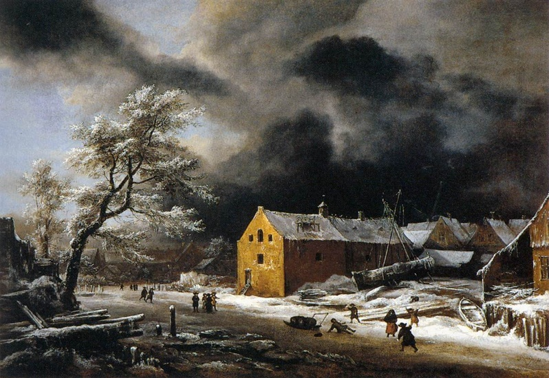 Jacob Isaakszoon van Ruisdael >> Winter Landscape1  |  (Oil, artwork, reproduction, copy, painting).