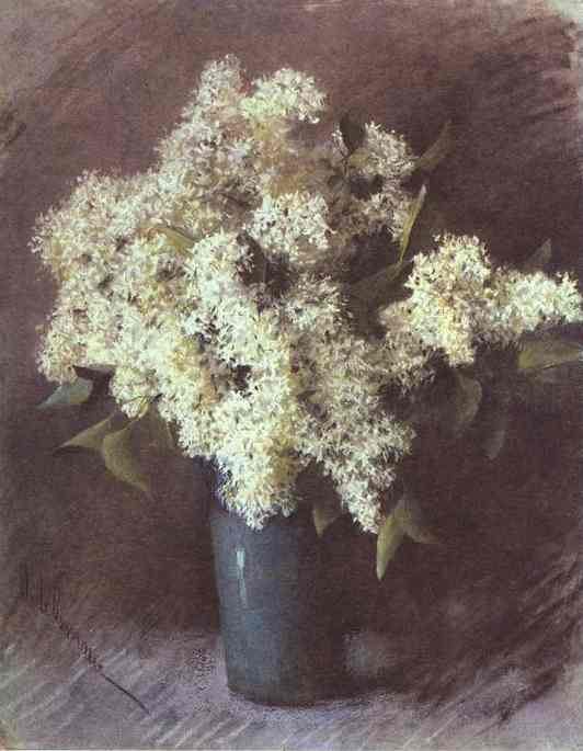 Isaac Levitan >> White Lilac  |  (Lithography, artwork, reproduction, copy, painting).