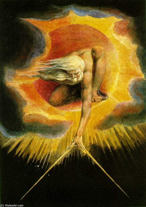 William Blake >> The Ancient of Days  |  (Oil, artwork, reproduction, copy, painting).