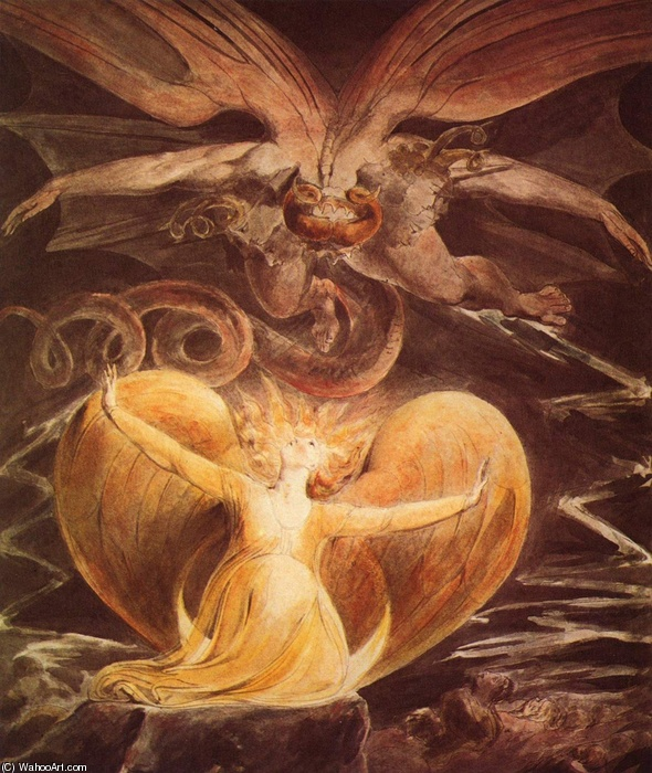 William Blake >> The Great Red Dragon and the Woman Clothed with Sun  |  (Oil, artwork, reproduction, copy, painting).