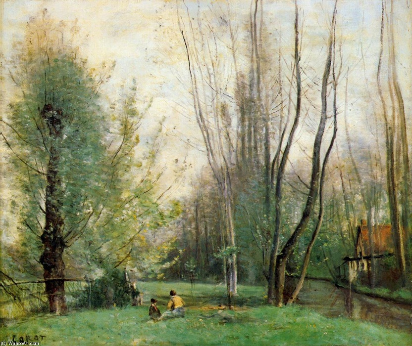 Jean-Baptiste Corot >> Morning at Beauvais  |  (Oil, artwork, reproduction, copy, painting).