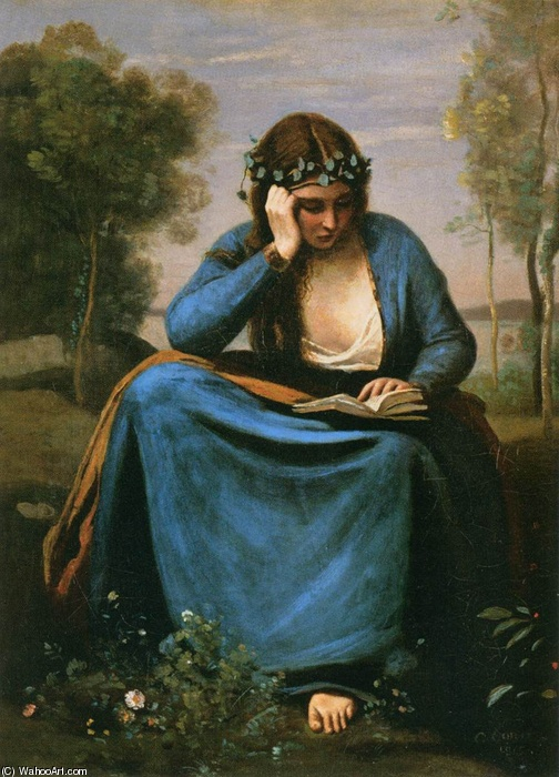 Jean-Baptiste Corot >> The Reader Wreathed with Flowers (Virgil's Muse)  |  (Oil, artwork, reproduction, copy, painting).