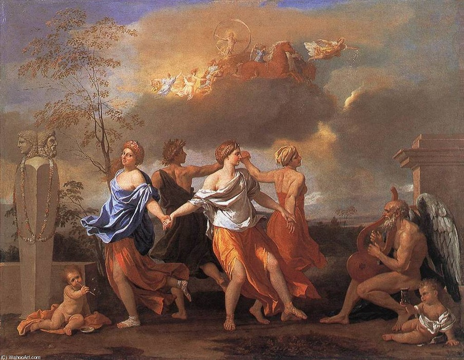 Nicolas Poussin >> Dance to the Music of Time  |  (Oil, artwork, reproduction, copy, painting).