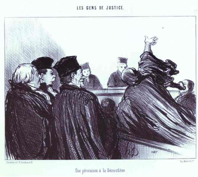 Honoré Daumier >> The Conclusion of a Speech à la Demosthene. From the Series Les Gens de justice  |  (Oil, artwork, reproduction, copy, painting).