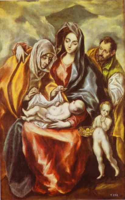 El Greco - Dominikos Theotokopoulos - The Holy Family with St. Anne and the Young St. John the Baptist