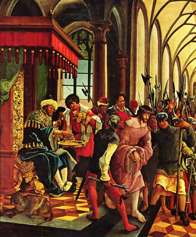 Albrecht Altdorfer >> Sebastian altar of the Augustinian Abbey of St. Florian near Linz, left hand inner wing to the Passion of Christ, scene of Pilate washing hands  |  (Oil, artwork, reproduction, copy, painting).