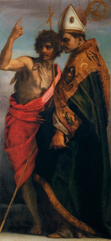 Andrea del Sarto >> Sts John the Baptist and Bernardo degli Uberti  |  (Oil, artwork, reproduction, copy, painting).