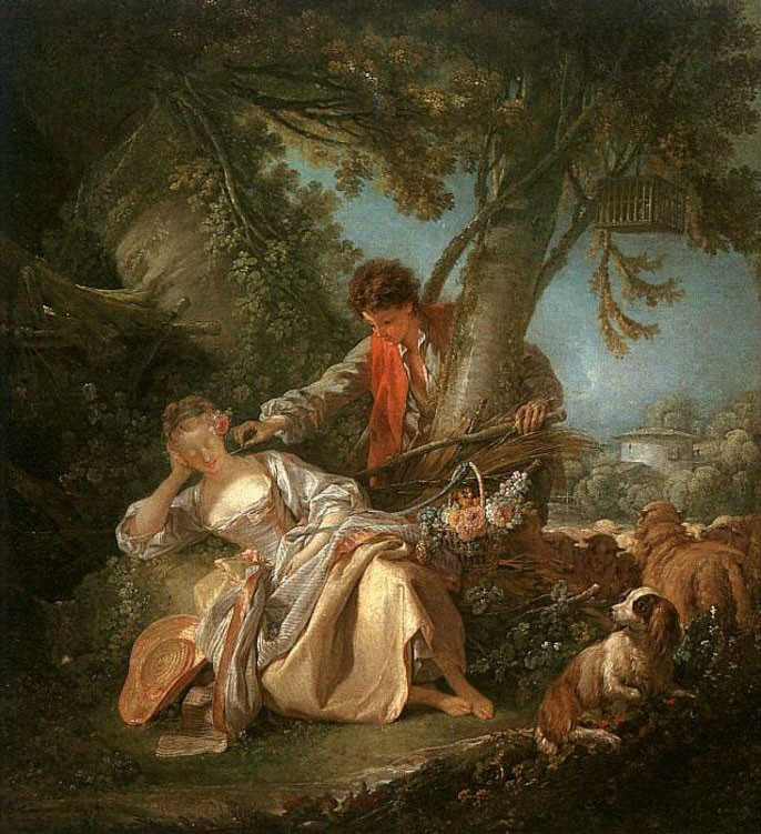 François Boucher >> The Interrupted Sleep  |  (Oil, artwork, reproduction, copy, painting).