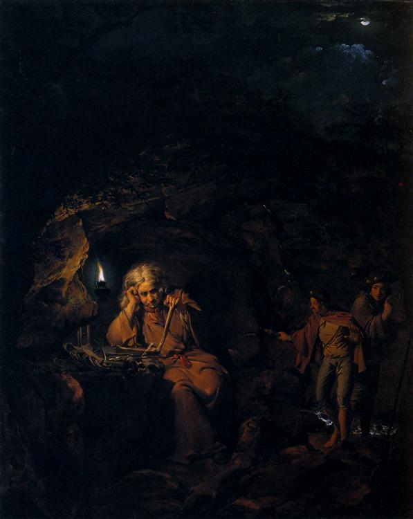 Joseph Wright of Derby >> A Philosopher by Lamp Light  |  (Oil, artwork, reproduction, copy, painting).