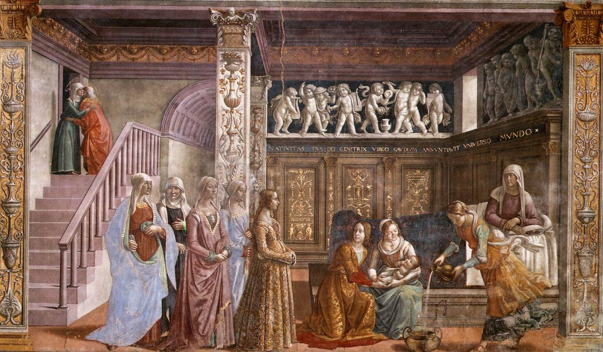 Domenico Ghirlandaio >> Birth of Mary  |  (Oil, artwork, reproduction, copy, painting).