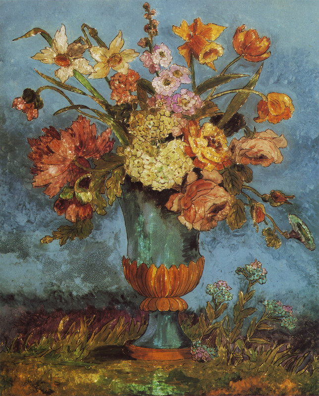 Dora de Houghton Carrington >> Flowerpiece  |  (Oil, artwork, reproduction, copy, painting).