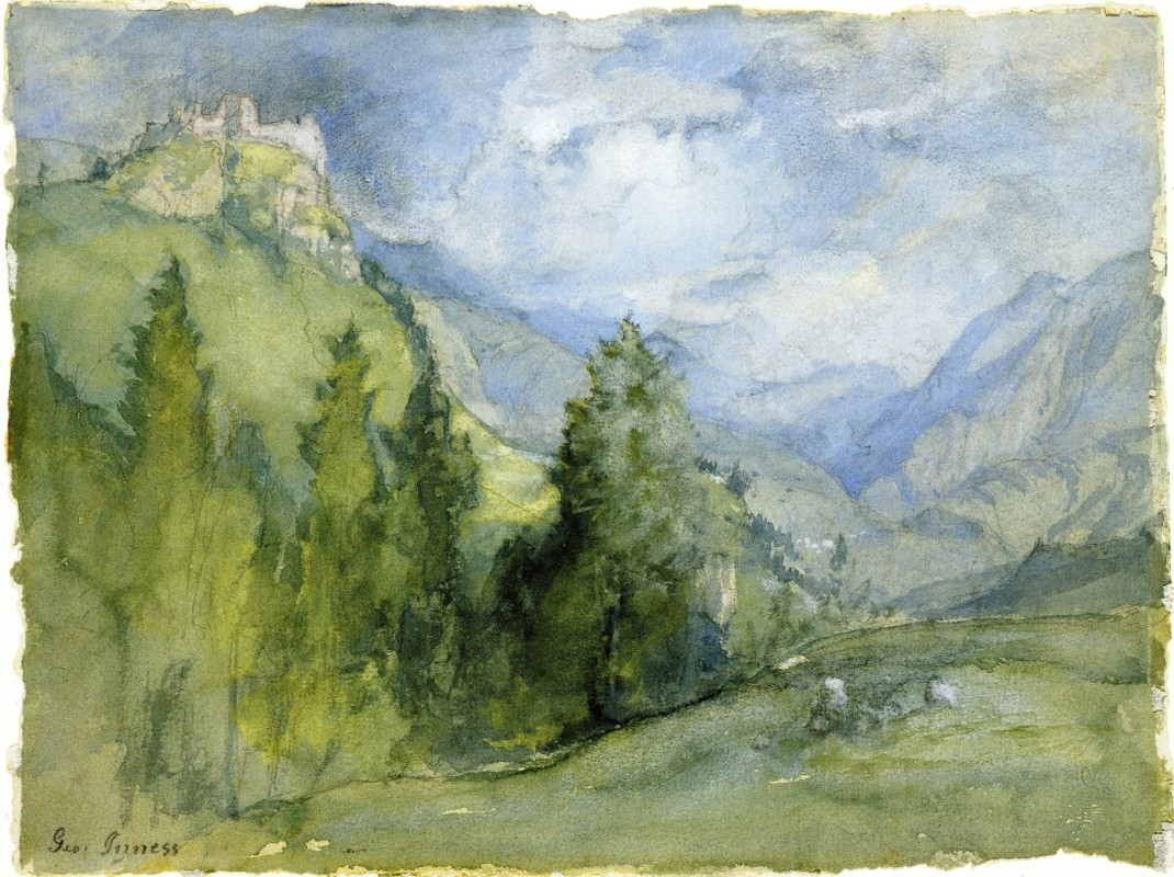 George Inness >> Castle in the Mountains  |  (Watercolor, artwork, reproduction, copy, painting).